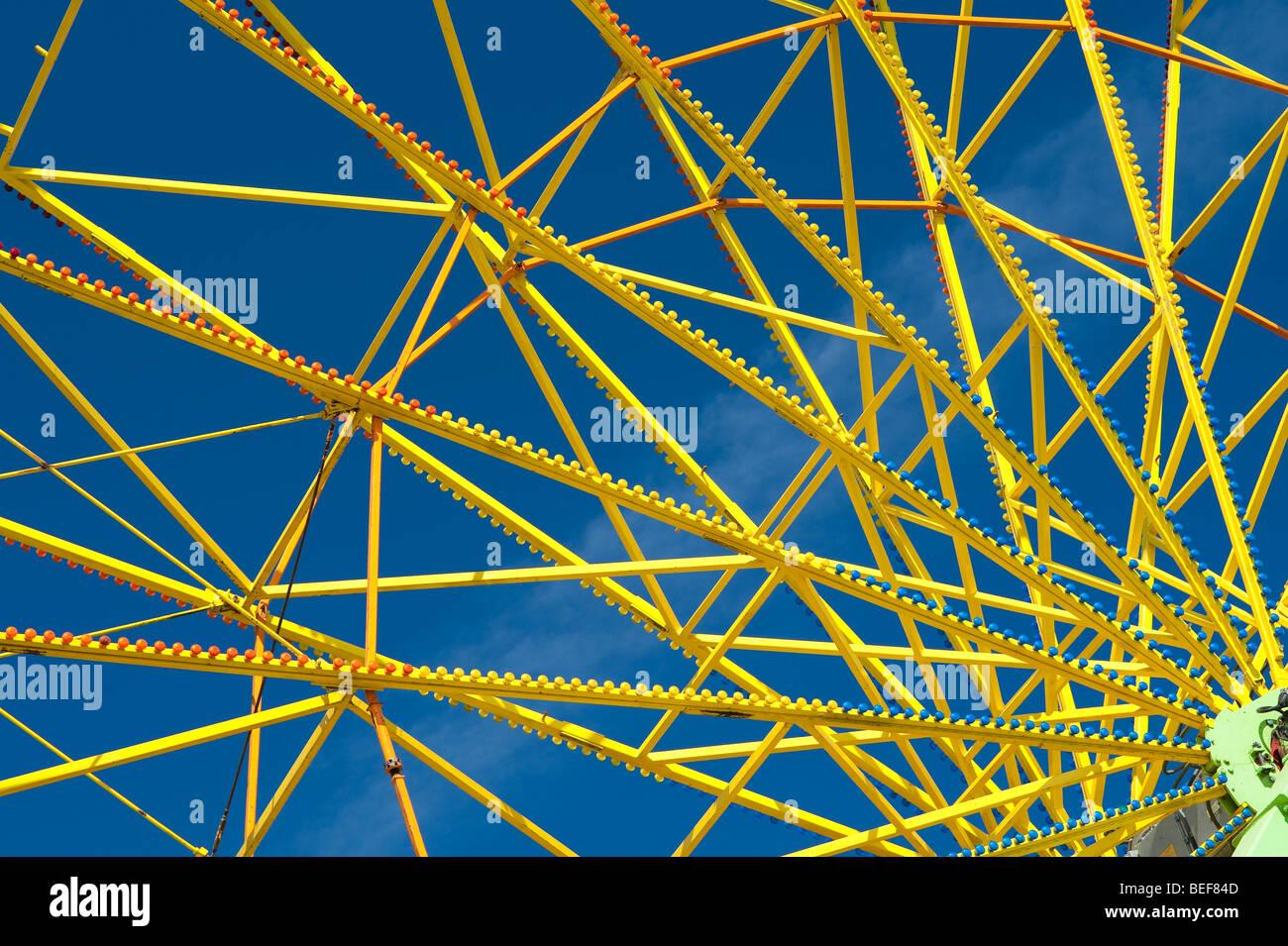 Evergrene State Fair Nahaufnahme der gelbe Riesenrad Speichen Monroe Washington State USA Stockbild