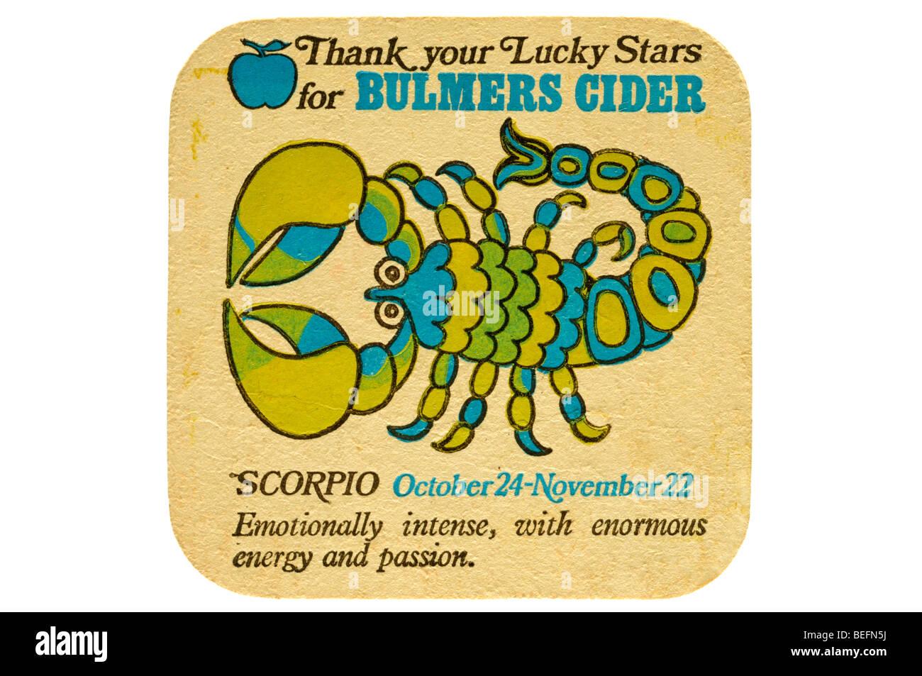 Danke Ihr Glücksstern für Bulmers Cider Skorpion 24. Oktober Movember 22 emotional intensiv mit enormer Stockbild