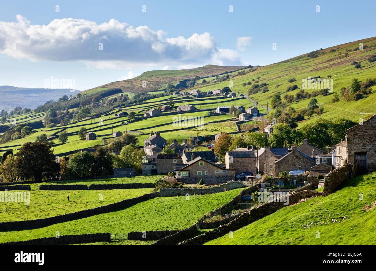Yorkshire Dales Dorf Gunnerside in Swaledale, England, North Yorkshire, englische Landschaft, Großbritannien Stockbild