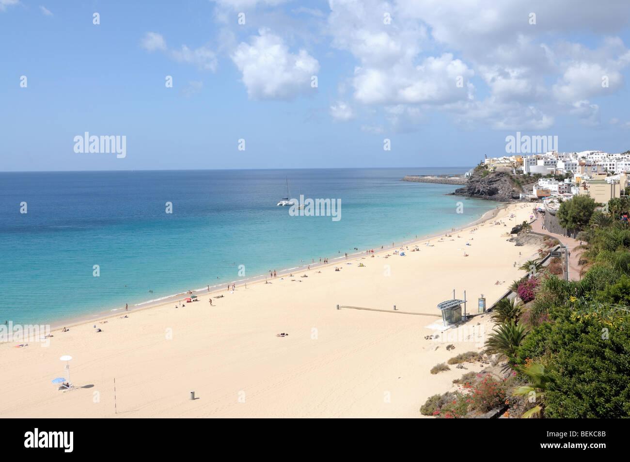 Strand von Morro Jable, Kanarischen Insel Fuerteventura, Spanien Stockbild