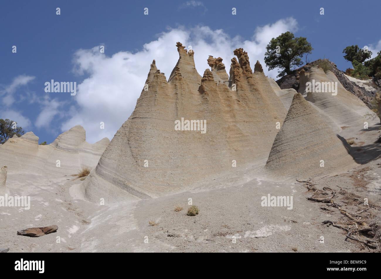 Fels-Formationen Paisaje Lunar auf der Kanarischen Insel Teneriffa, Spanien Stockbild