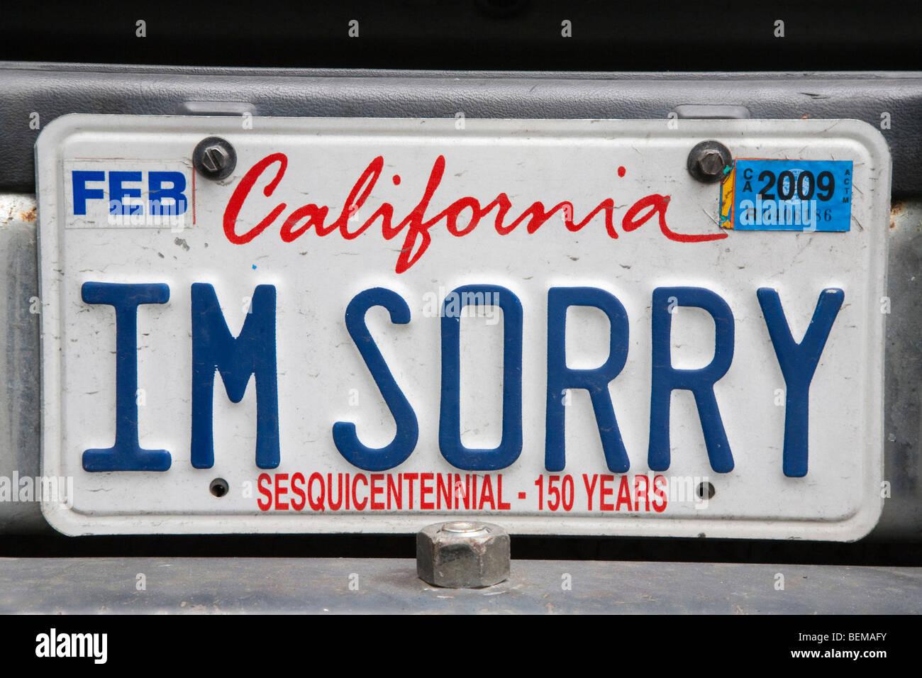 Vanity License Plate California Stockfotos & Vanity License Plate ...