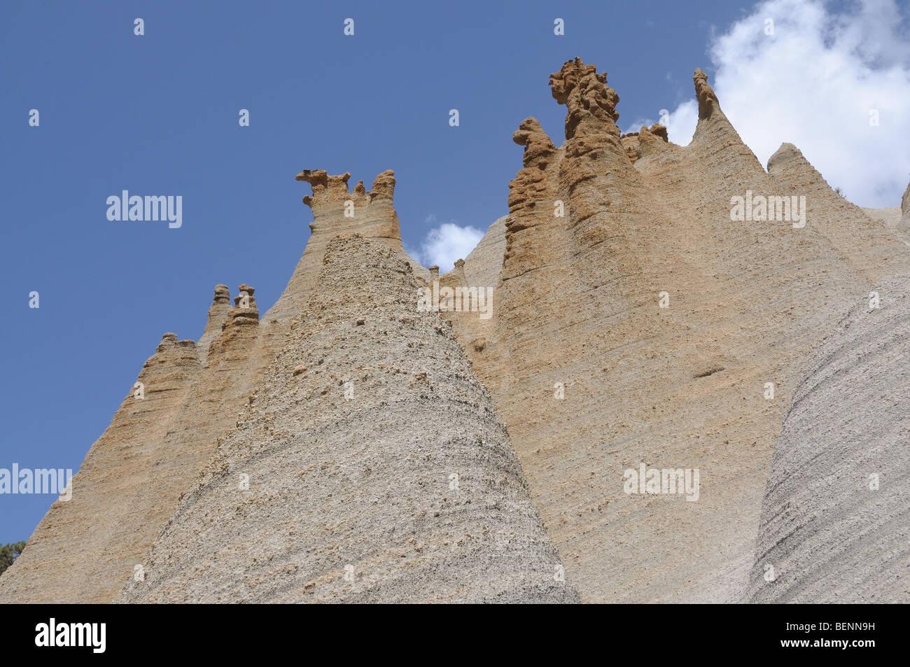 Fels-Formationen Paisaje Lunar (Mondlandschaft) auf der Kanarischen Insel Teneriffa, Spanien Stockbild
