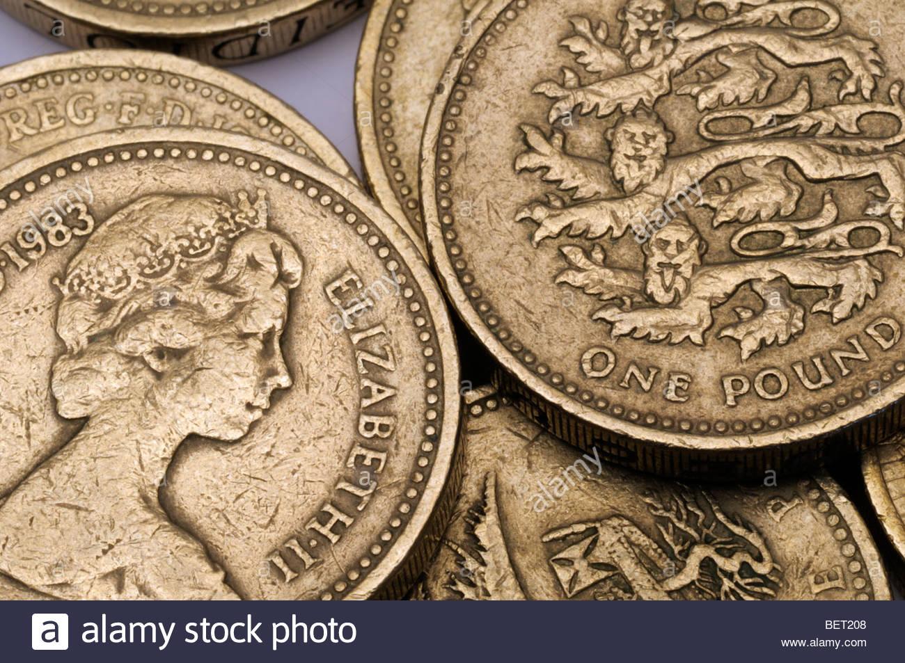 Nahaufnahme Des Britischen Ein Pfund Münzen England Dorset