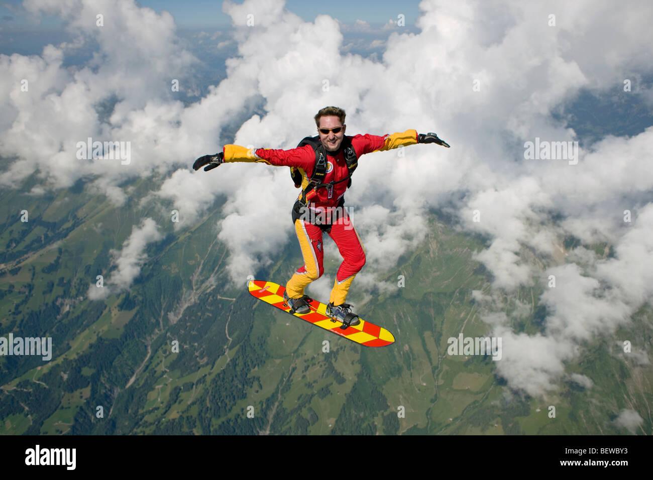 Skysurfers, volle erschossen Stockbild