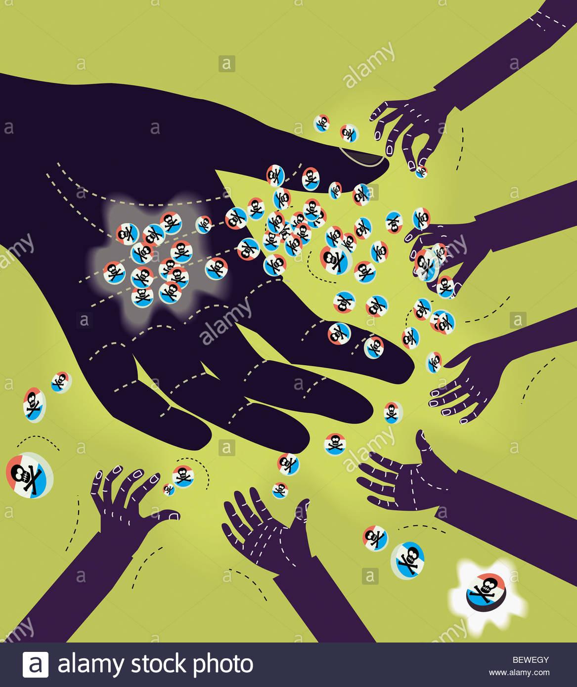 Große Hand bietet Poison Pills für kleine Hände Stockbild