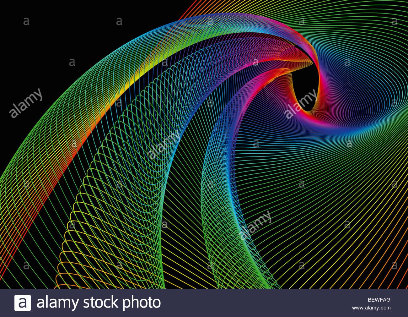 Wirbelnden Regenbogen farbige Linien Stockbild