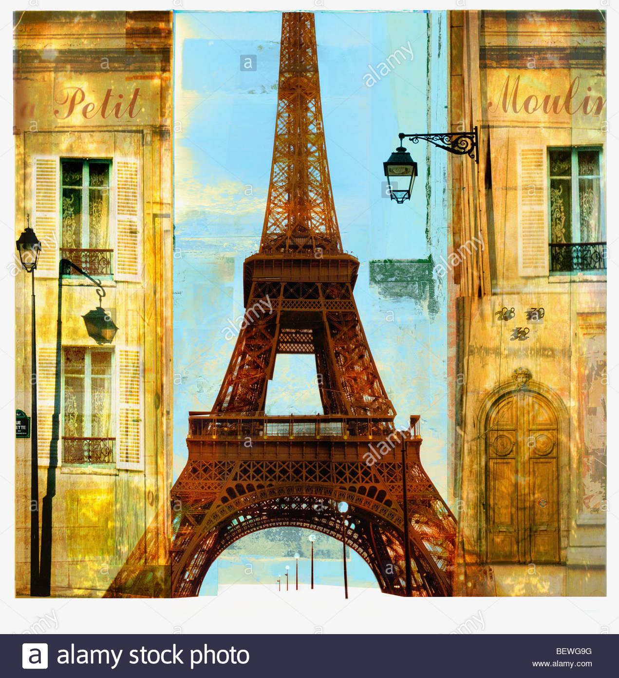 Wohnungen und Eiffelturm Stockbild