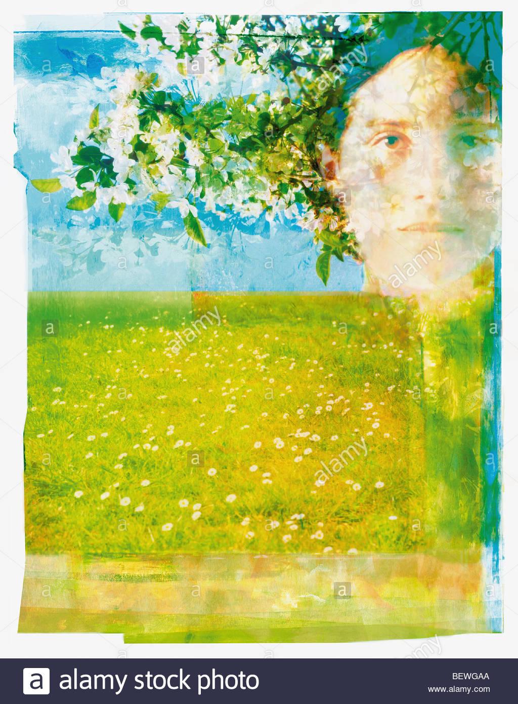 Porträt der Frau im Obstgarten Stockbild