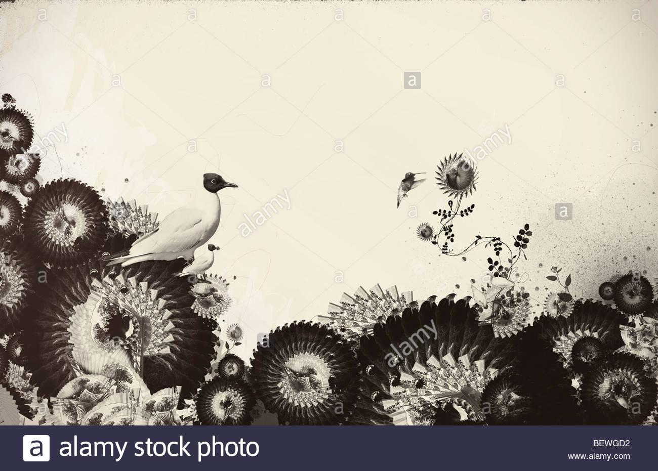 Vogel und dekorative Blumen Stockbild