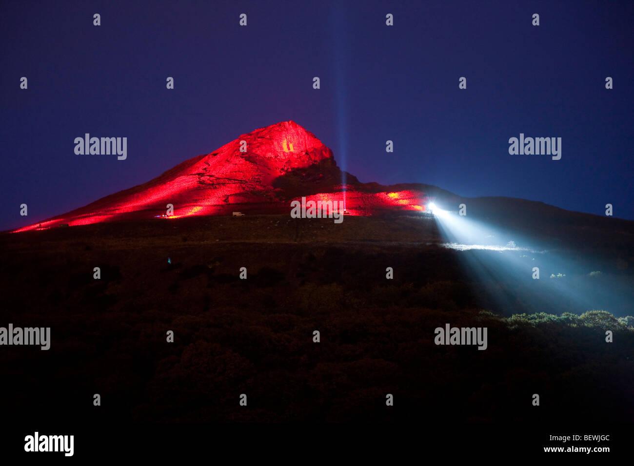 Odins glühen. Die Beleuchtung der Nähe Topping Oktober 2009 Stockbild