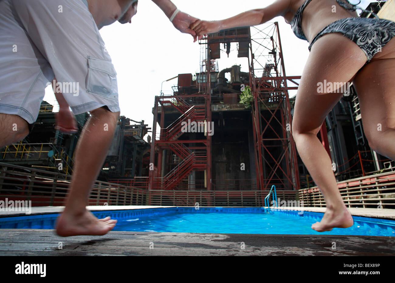 Swimming Pool auf Zollverein Coal Mine Industrial Complex Stockfoto