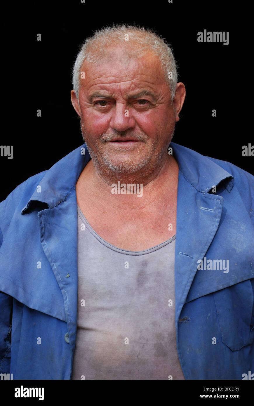 Porträt eines Mannes aus Padjene, Kroatien Stockbild