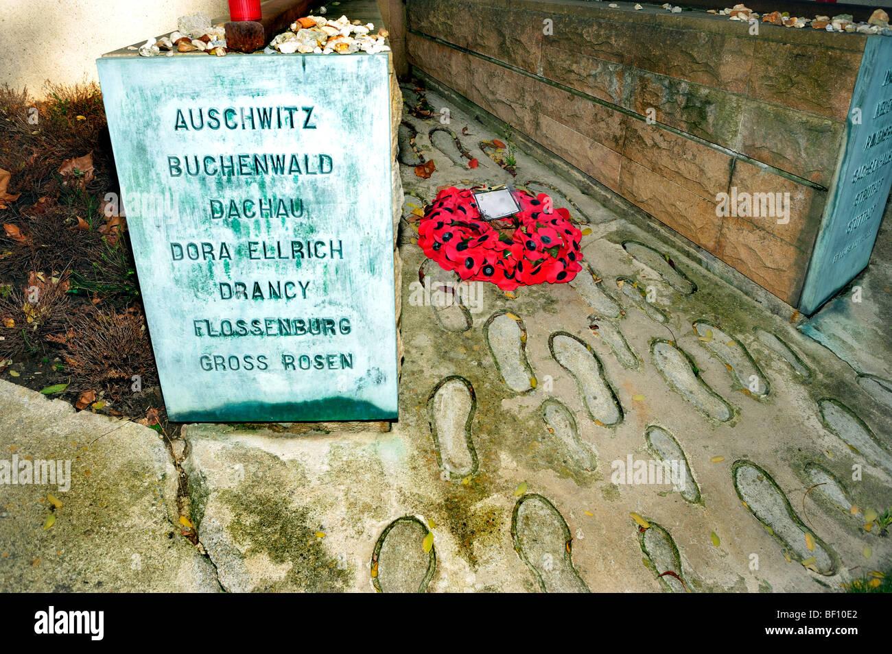 Paris, Frankreich - Pere Lachaise Friedhof, Denkmal, Holocaust, Juden im Holocaust des zweiten Weltkriegs Konzentrationslager Stockbild
