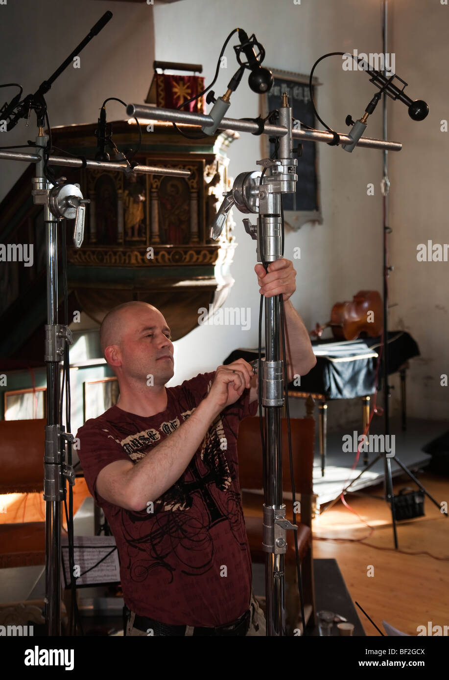 Morten Lindberg Produzent 2L Aufzeichnung Firma Mikrofone Stockbild