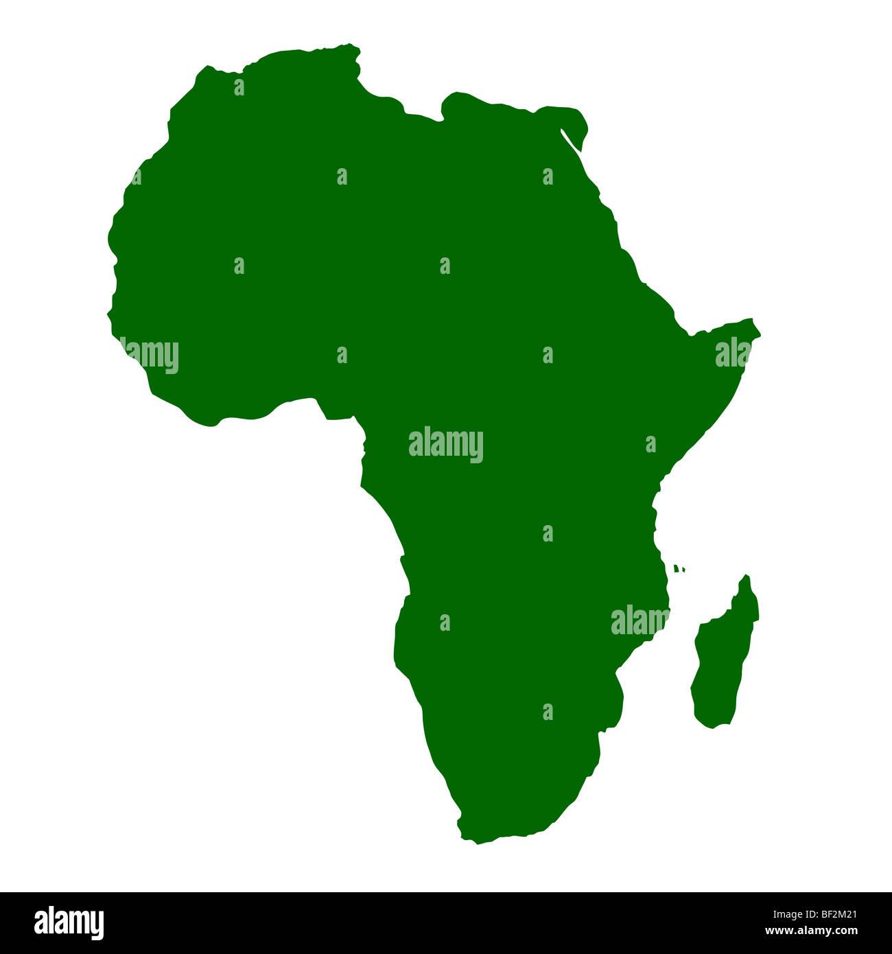 Der Umriß des afrikanischen Kontinent isoliert auf weißem Hintergrund mit Beschneidungspfad. Stockbild
