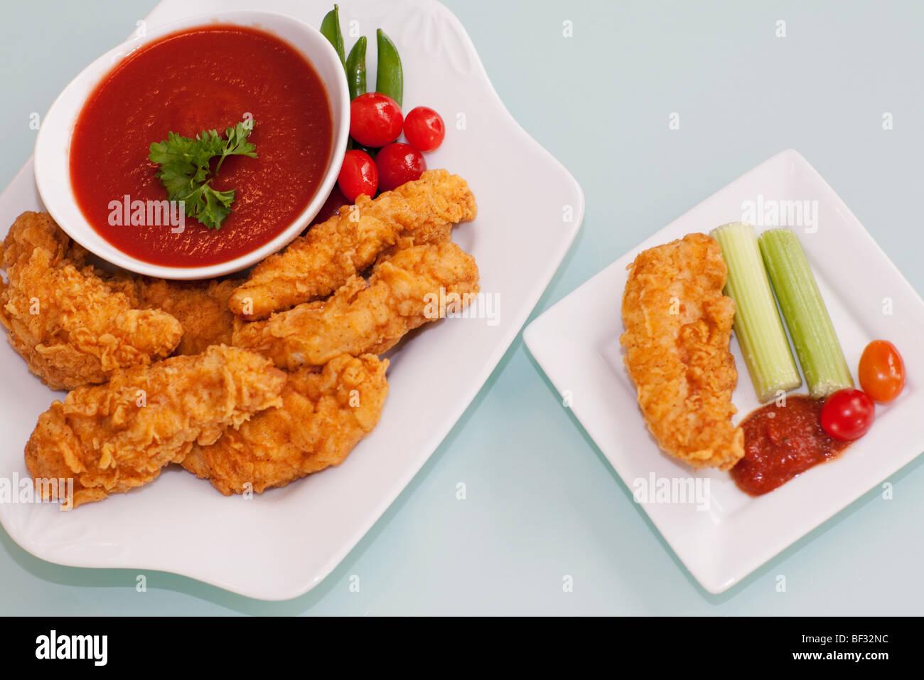 Teig gebraten Huhn mit ketchup Stockbild