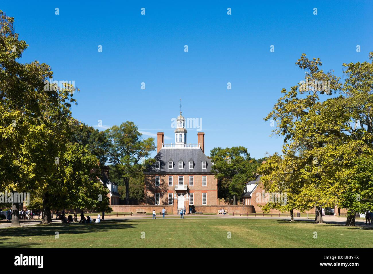 Des Gouverneurs-Palast und Palast grün, Colonial Williamsburg, Virginia, USA Stockbild