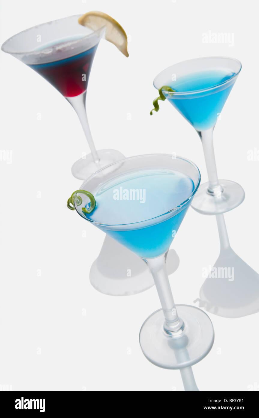 Nahaufnahme von drei Gläser von cocktails Stockbild