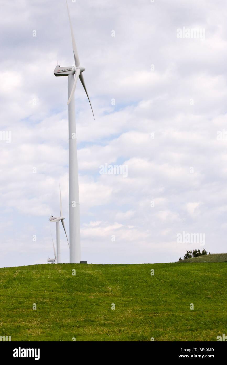 Windkraftanlagen Sie betriebene in Quebec Kanada. Stockbild