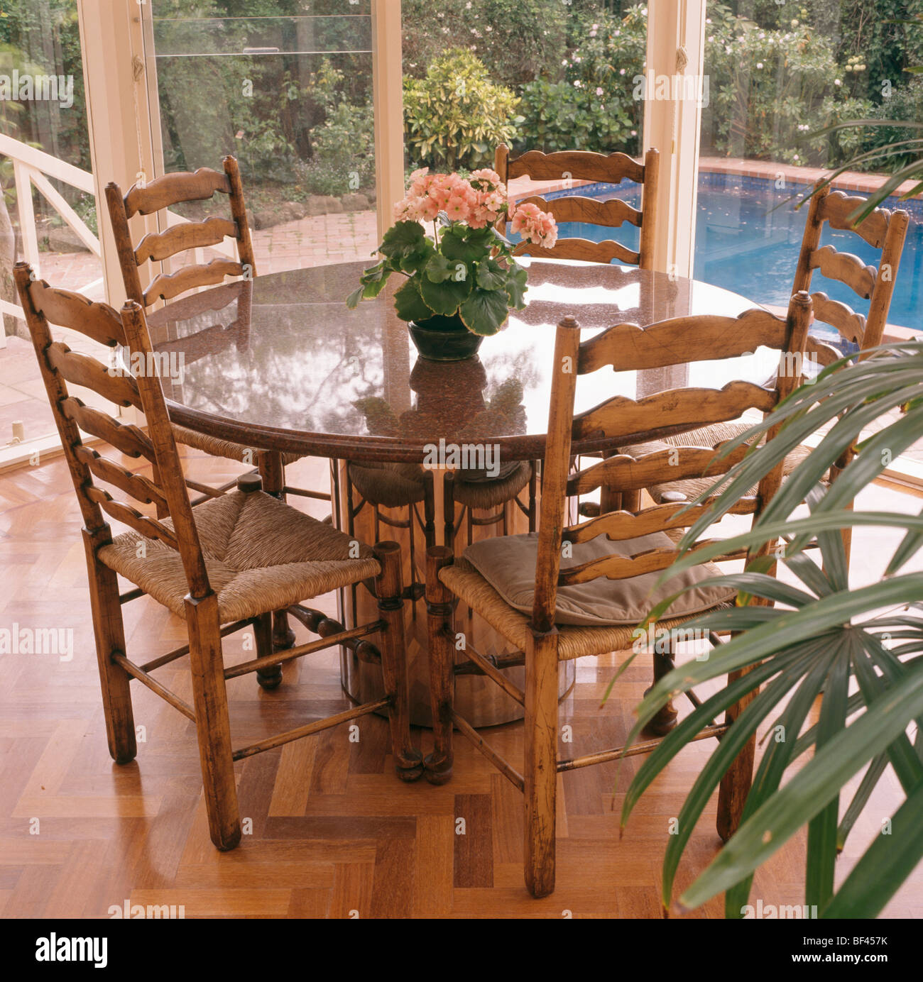 Dining Table In Conservatory Stockfotos & Dining Table In ...