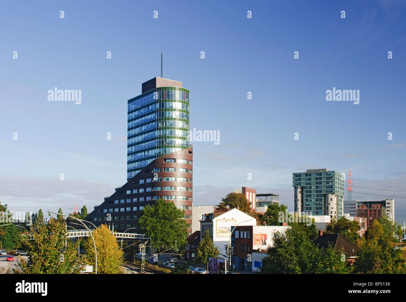 Modernes Büro tower Channel, Channel Harburg Harburg Hafen Port Landkreis Harburg, Hamburg, Germany, Europe Stockbild