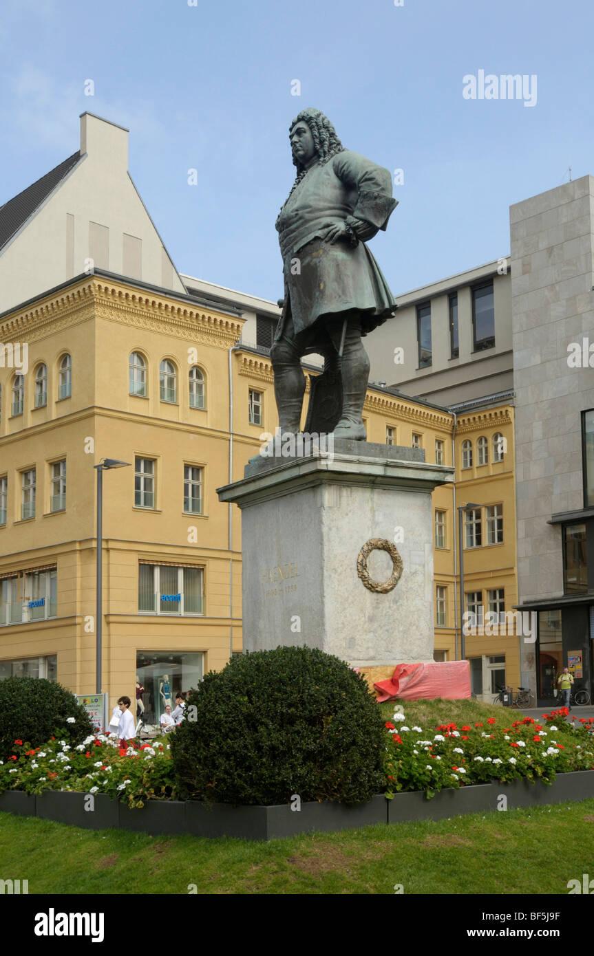 Denkmal für Georg Friedrich Händel, Halle an der Saale, Sachsen-Anhalt, Deutschland, Europa Stockbild