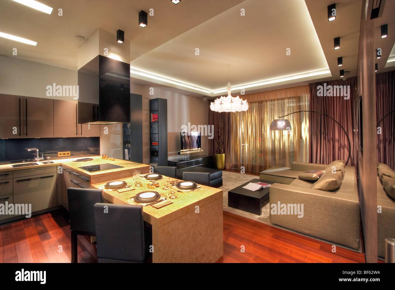 Moderne Küche und Wohnzimmer von Armani Stockfoto, Bild: 26564192 ...