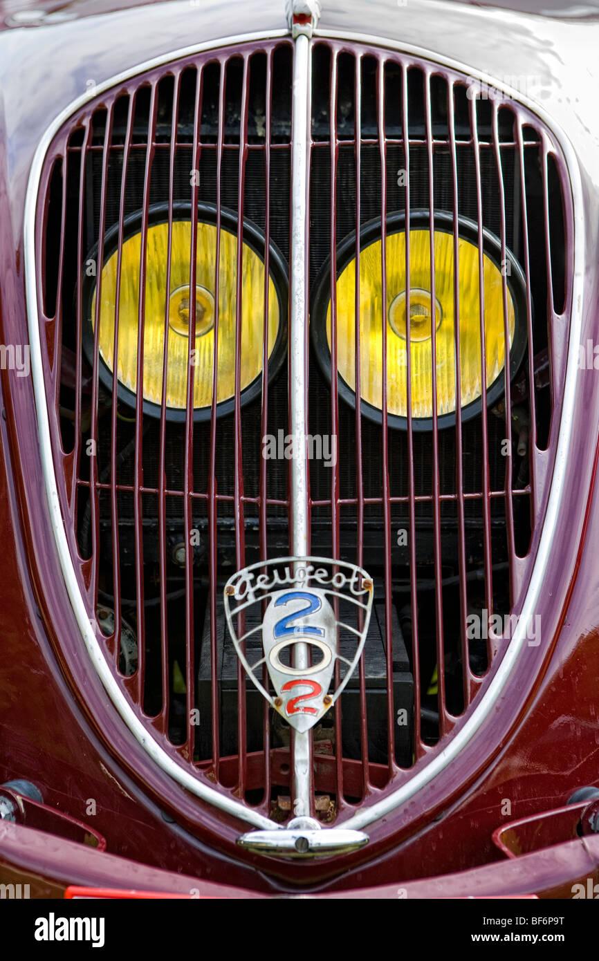 Peugeot 202, Abholung, fünfziger Jahre, Oldtimer, beladen mit Wein Barrique-Fässer Stockbild