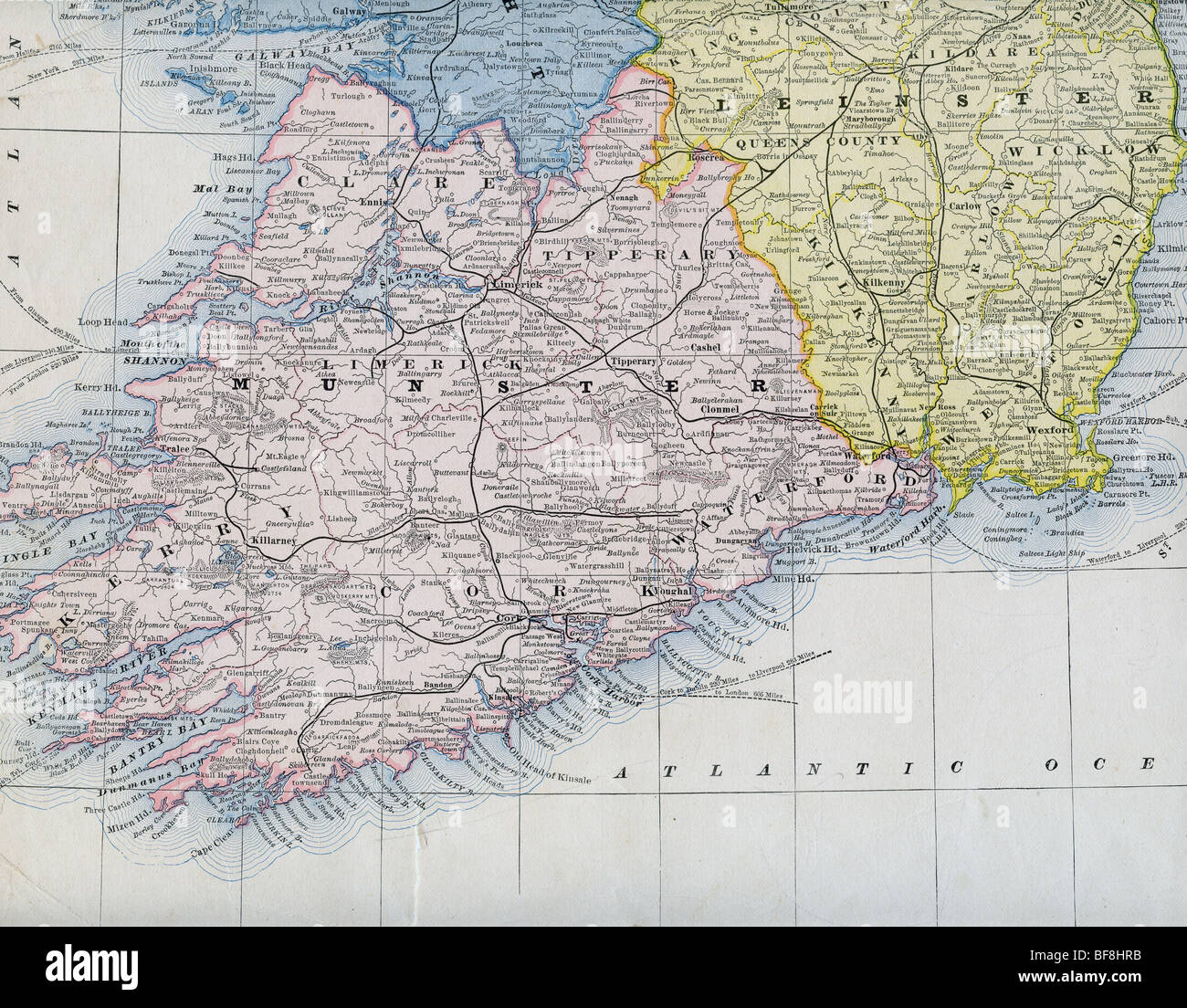 Original Alte Karte Von Sudirland Aus 1884 Geographie Lehrbuch
