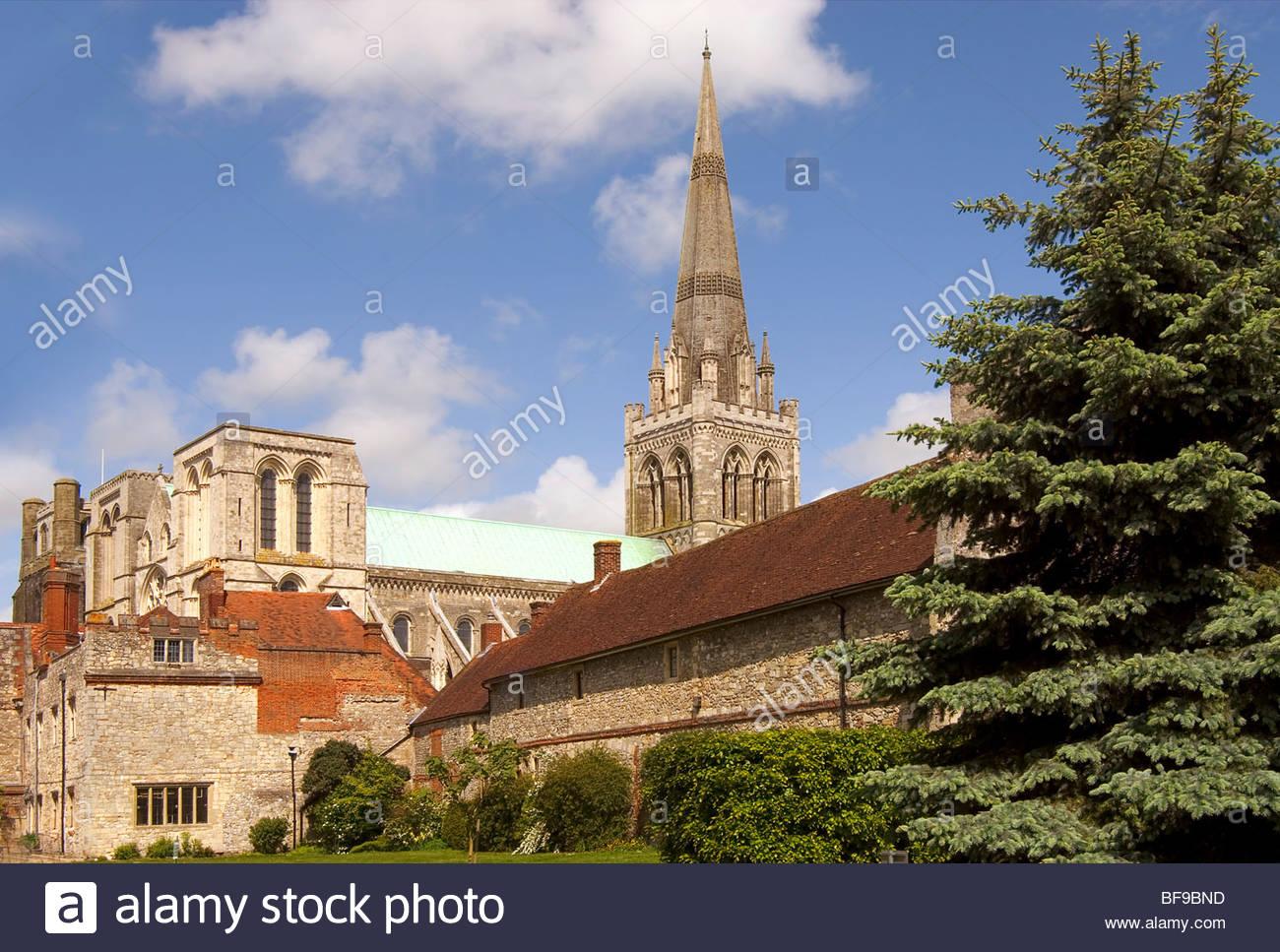 Bild von der Kathedrale von Chichester, in der Grafschaft West Sussex, Süd-Ost-England.Die-Kathedrale Stockbild