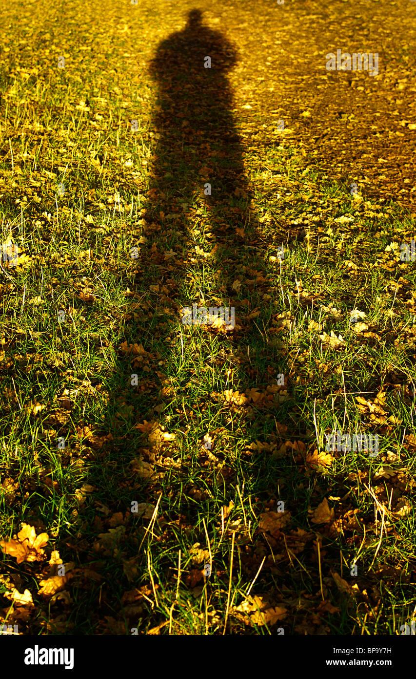 Lange Herbst Shadow of A Man Stockbild