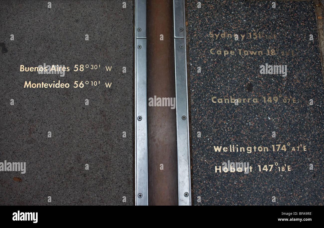 Nullmeridian in Greenwich.   Stockbild