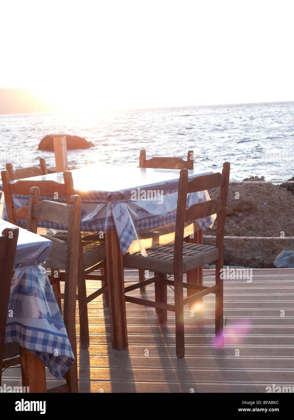 Restaurant am Meer Stockbild