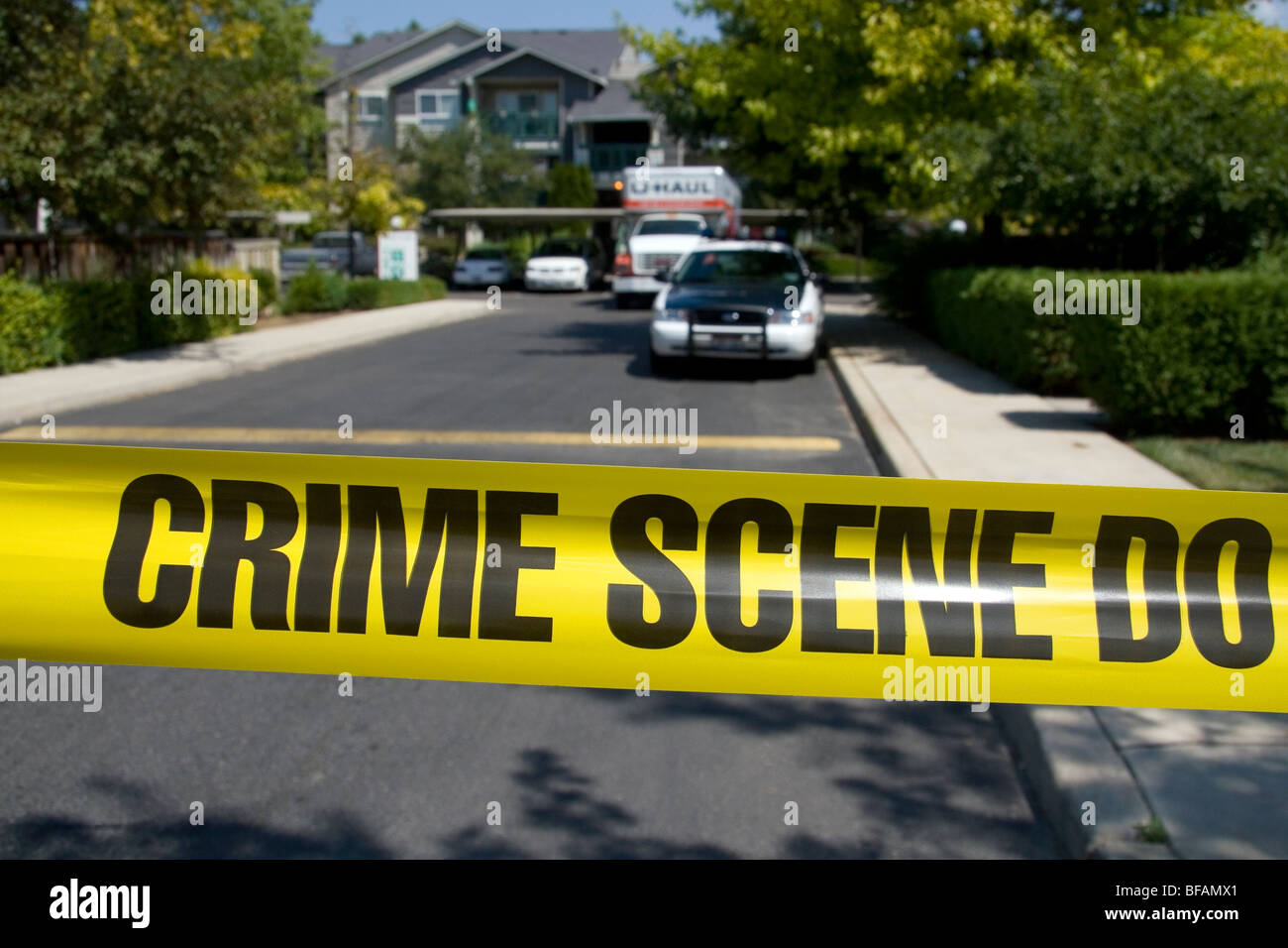 Polizei Kriminalität Szene Band Warnung vor Betreten eines Verbrechens in Boise, Idaho, USA. Stockbild