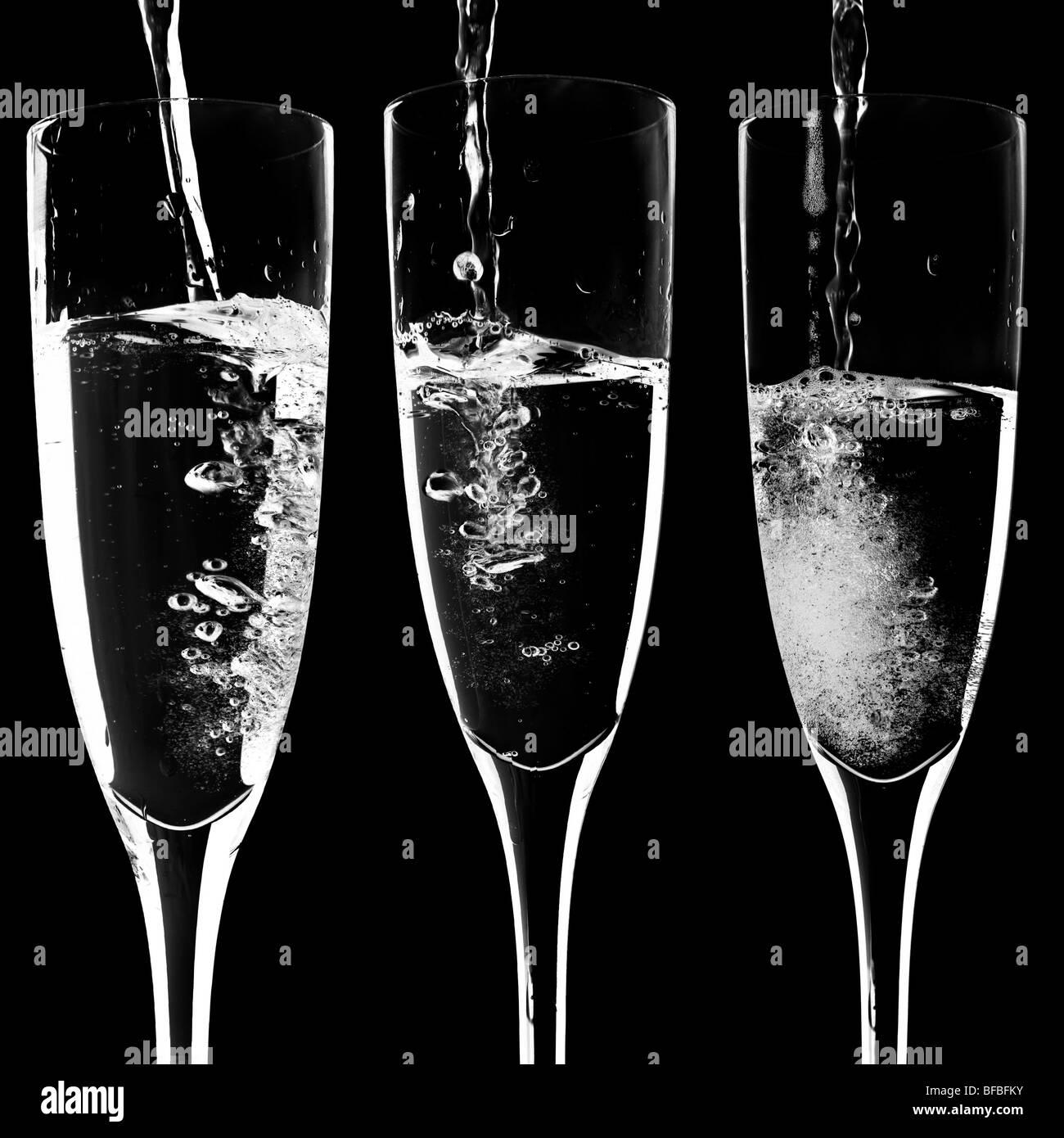 Champagner im negativen Stockbild