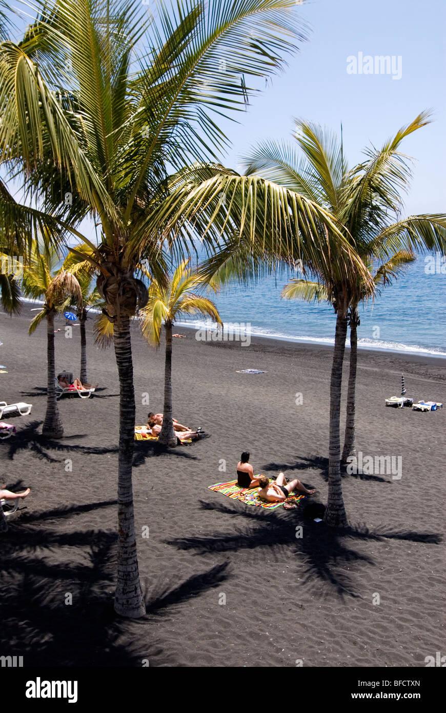 Der Strand von Puerto Naos, La Palma, Kanarische Inseln, Spanien, Europa. Stockbild