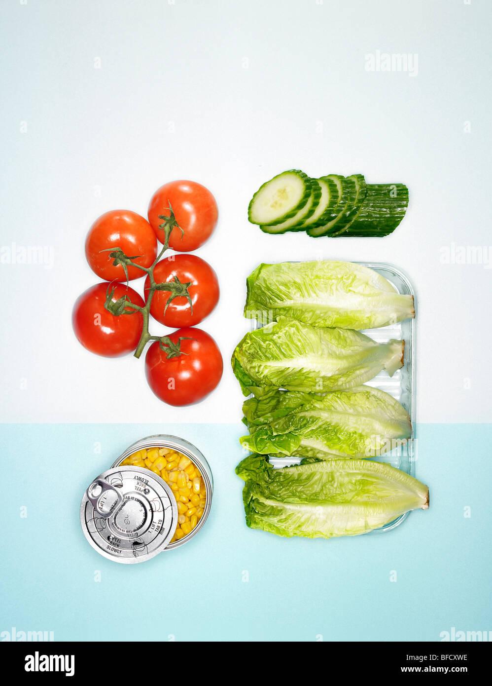Sandwich-Füllungen, Salatzutaten Stockfoto