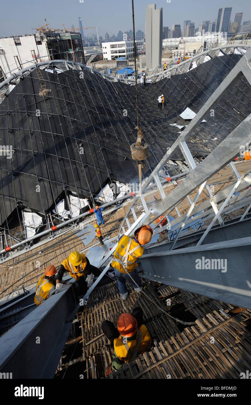 Baustelle der World Expo 2010 in Shanghai, China.15-Oct-2009 Stockbild