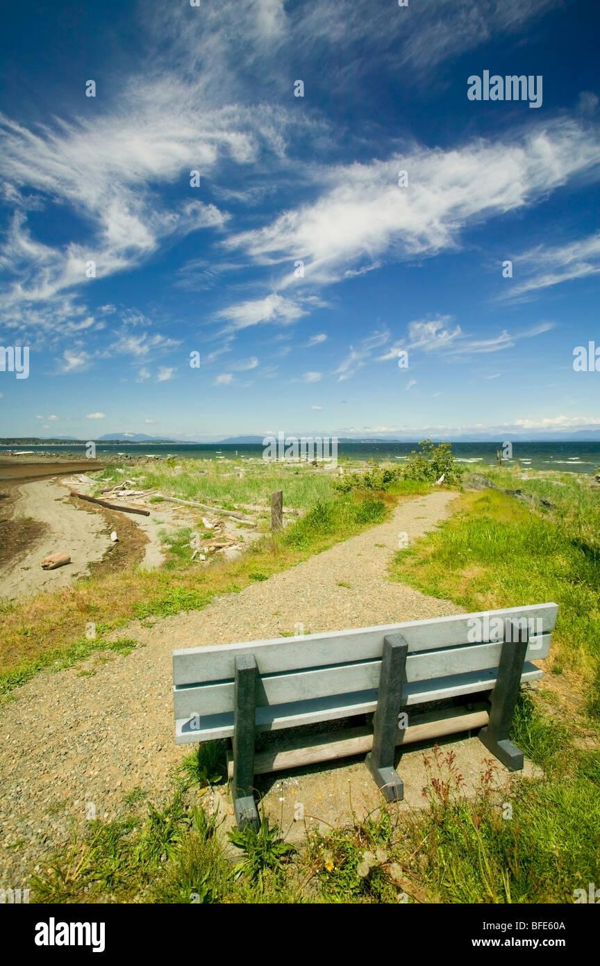 Eine Parkbank in Oyster Bay, entlang Hwy 19 südlich von Campbell River, Vancouver Island, British Columbia, Stockbild