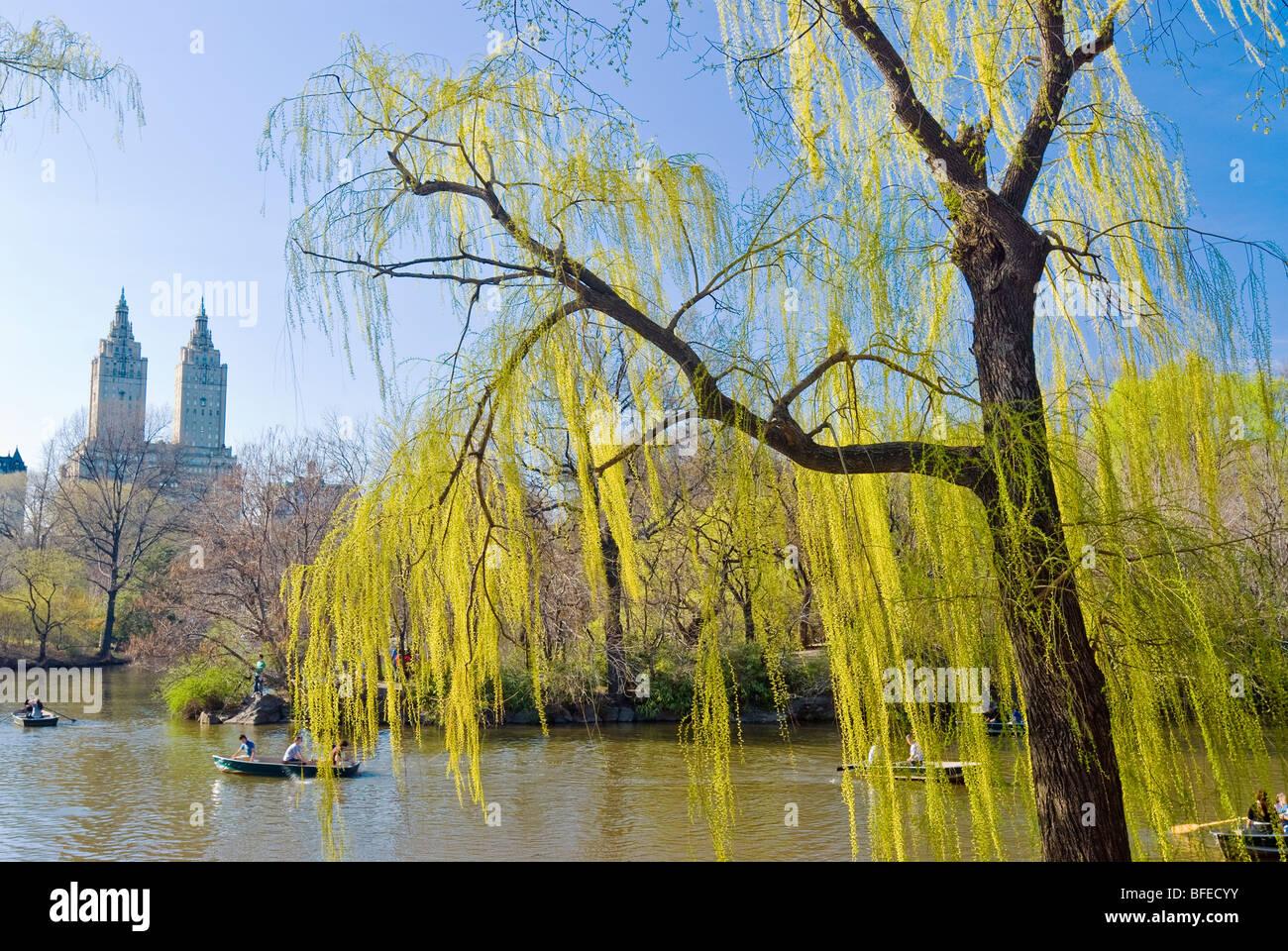 Der See im Central Park in New York City mit den San Remo Apartments am Central Park West in den Hintergrund. Stockbild