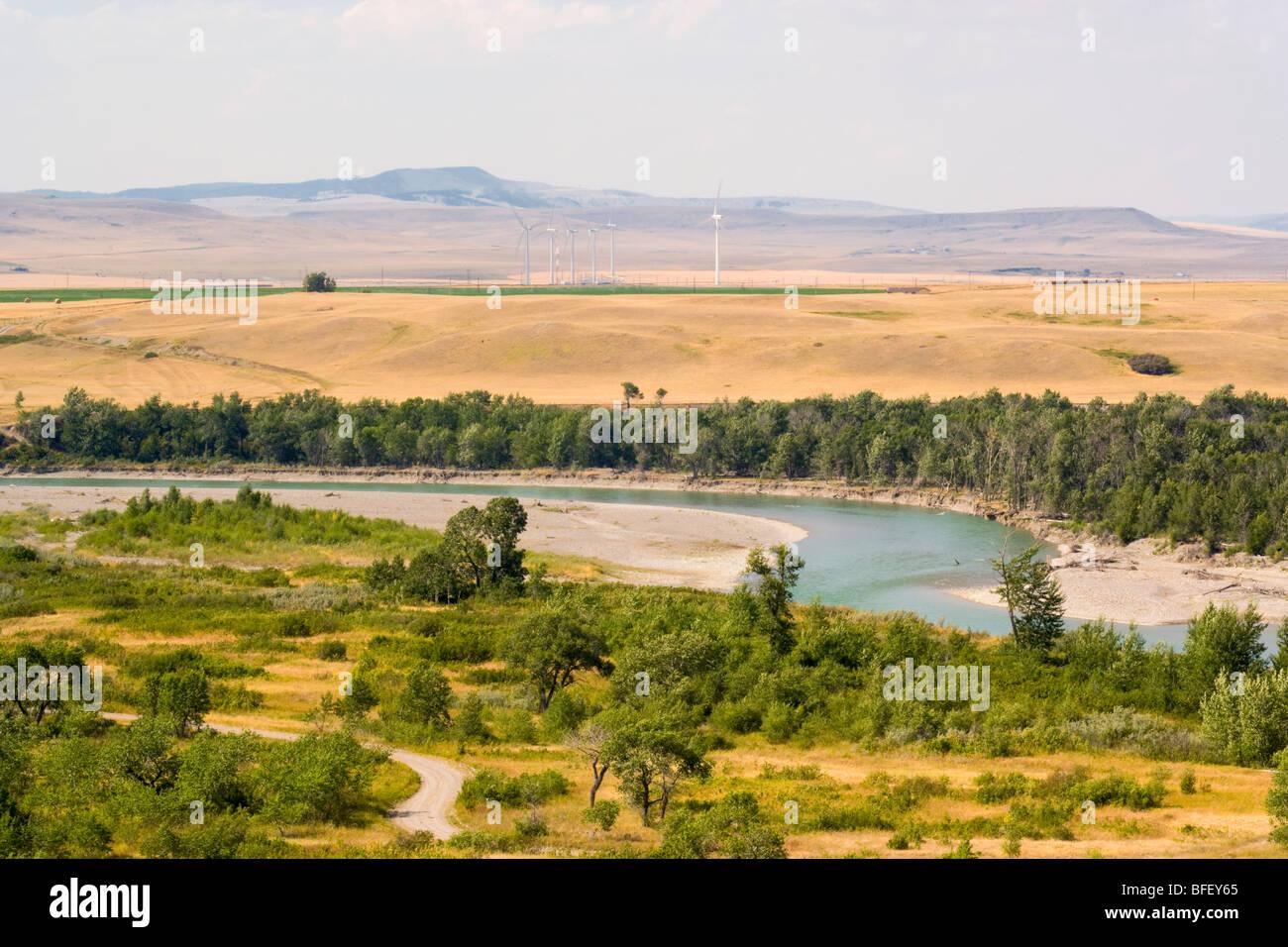 Windkraftanlagen, Pincher Creek, Alberta, Kanada, Fluss, Energie, Alternative Energie Stockbild