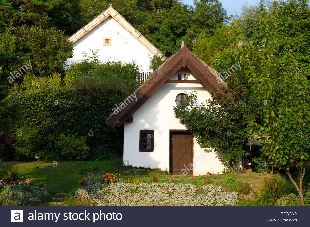 Traditionellen strohgedeckten Häuser - Szigiglet, Plattensee, Ungarn Stockbild