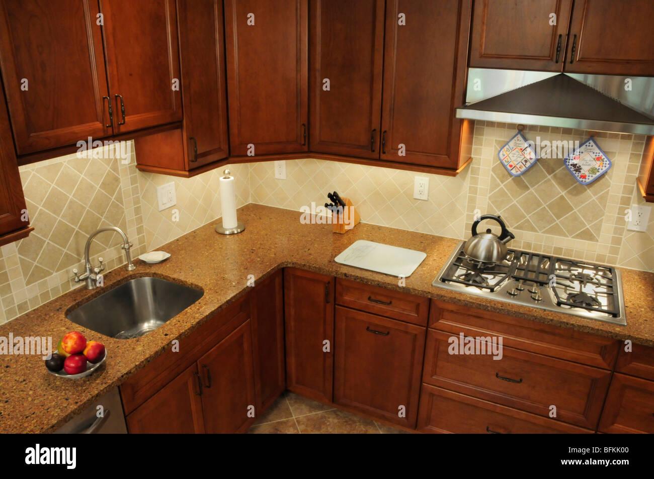 Arbeitsbereich in einem umgebauten Küche aus einem hohen Winkel Stockbild