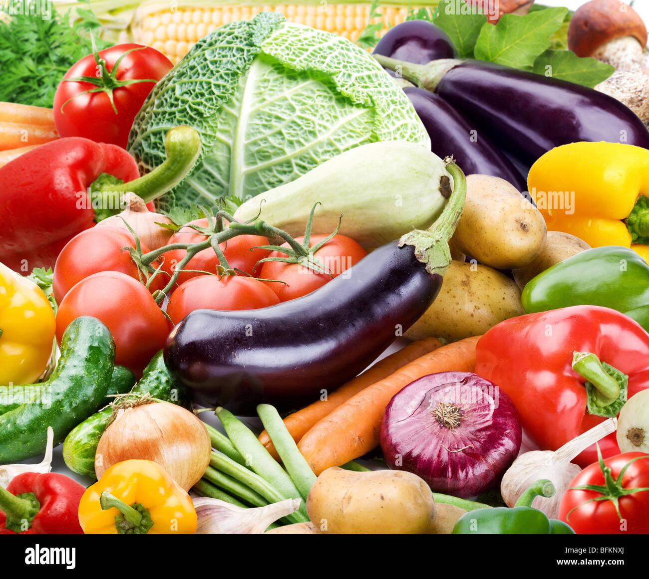 Bunten heller Hintergrund besteht aus verschiedenen Gemüsen Stockbild