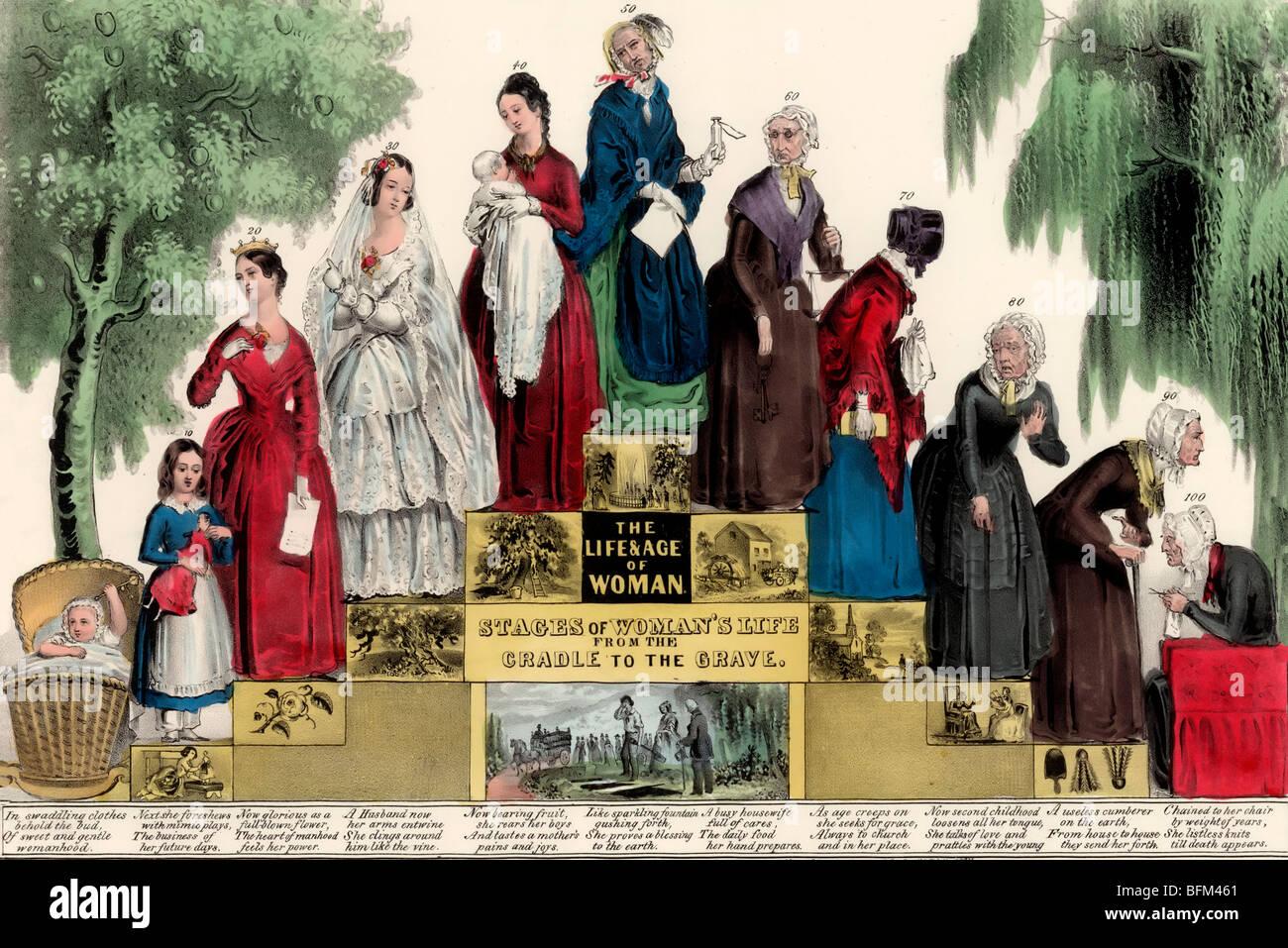 Das Leben und Alter der Frau, die Phasen des Lebens der Frau von der Wiege bis zur Bahre Stockbild