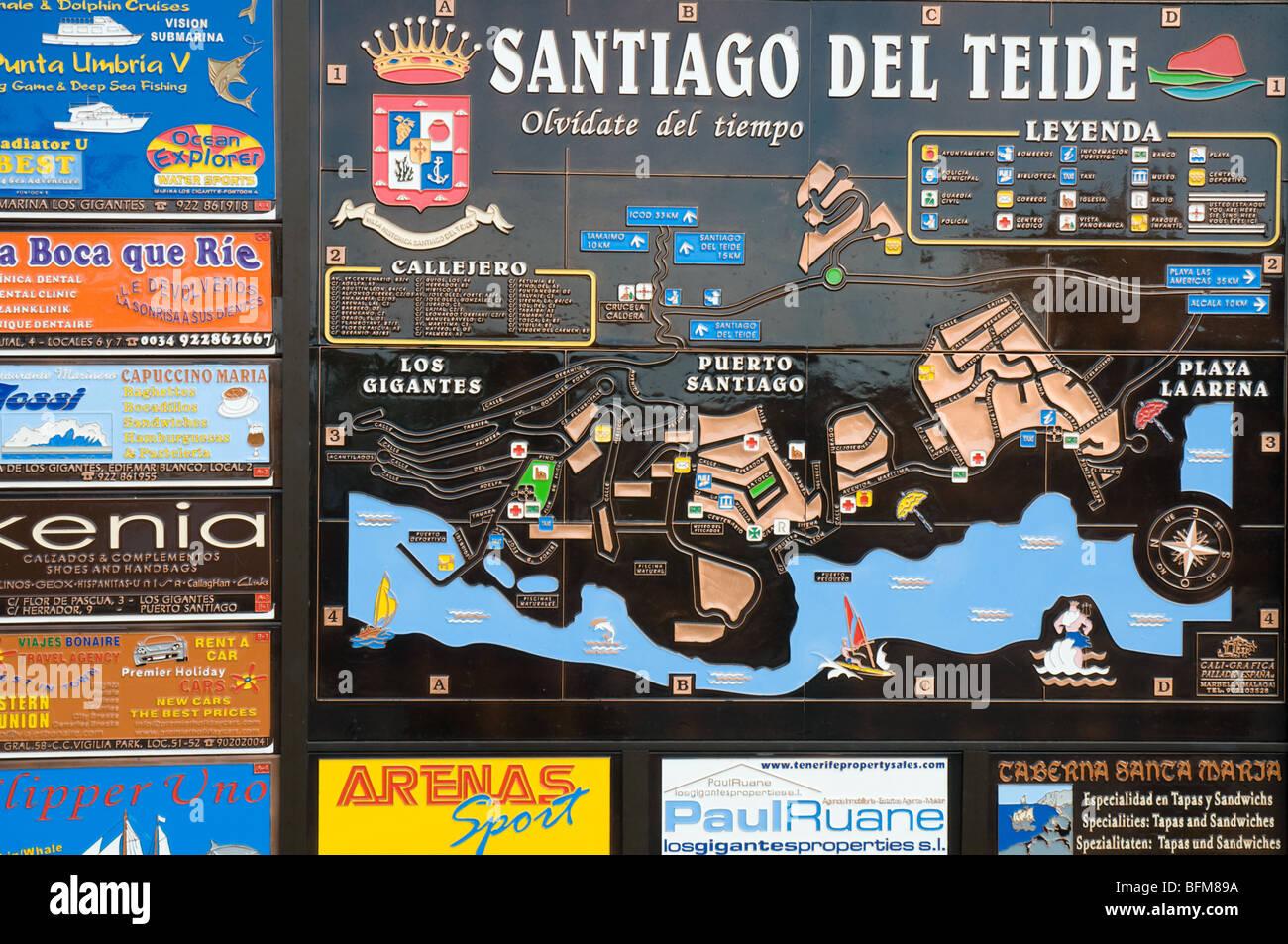 Karte von Santiago del Teide für Touristen Stockbild