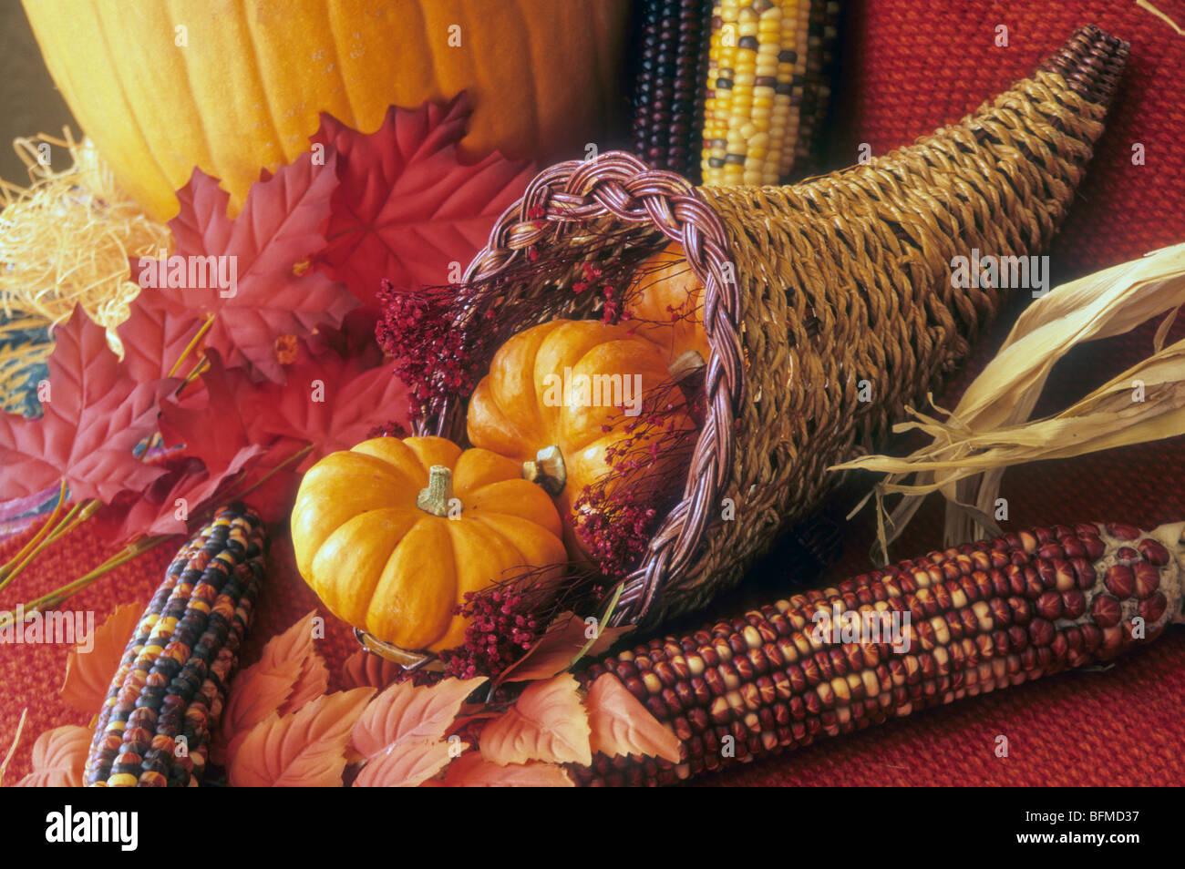 Fest Feier Saison Füllhorn reichlich Thanksgiving Stillleben Korb ...
