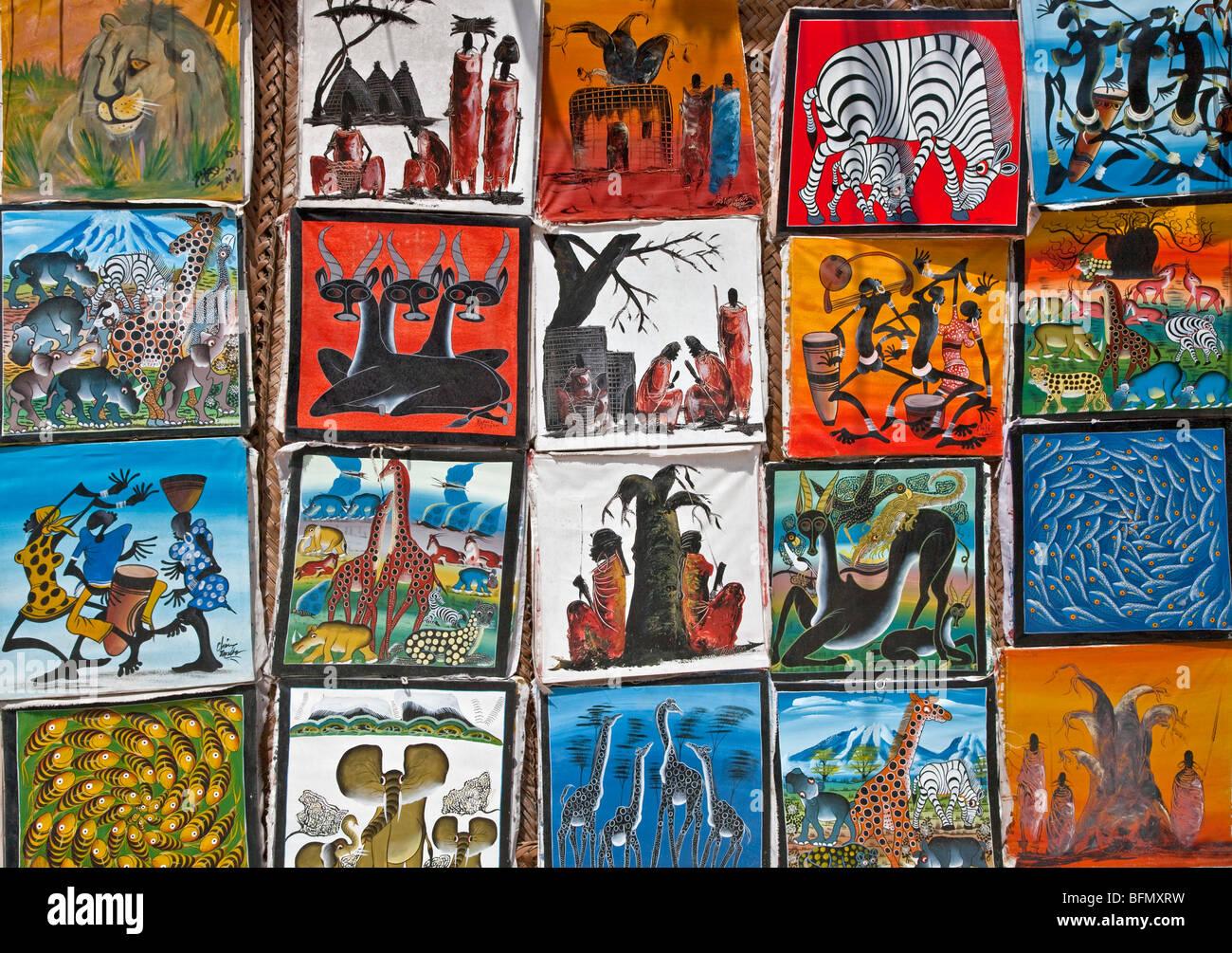 tansania sansibar bunte bilder von einheimischen k nstlern zum verkauf in der n he von paje. Black Bedroom Furniture Sets. Home Design Ideas