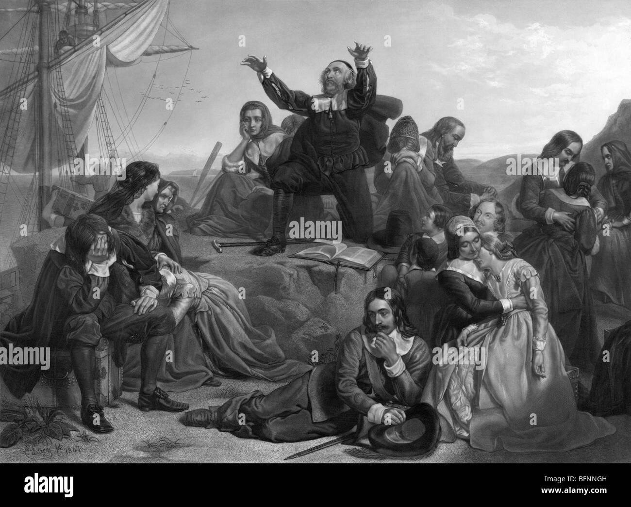 Gravur zu drucken, die emotionalen Szenen während der Abreise der Pilgerväter nach Amerika im Jahre 1620. Stockbild